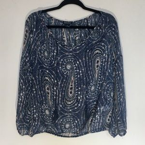 Lucky Brand Live In Love Sheer Blouse